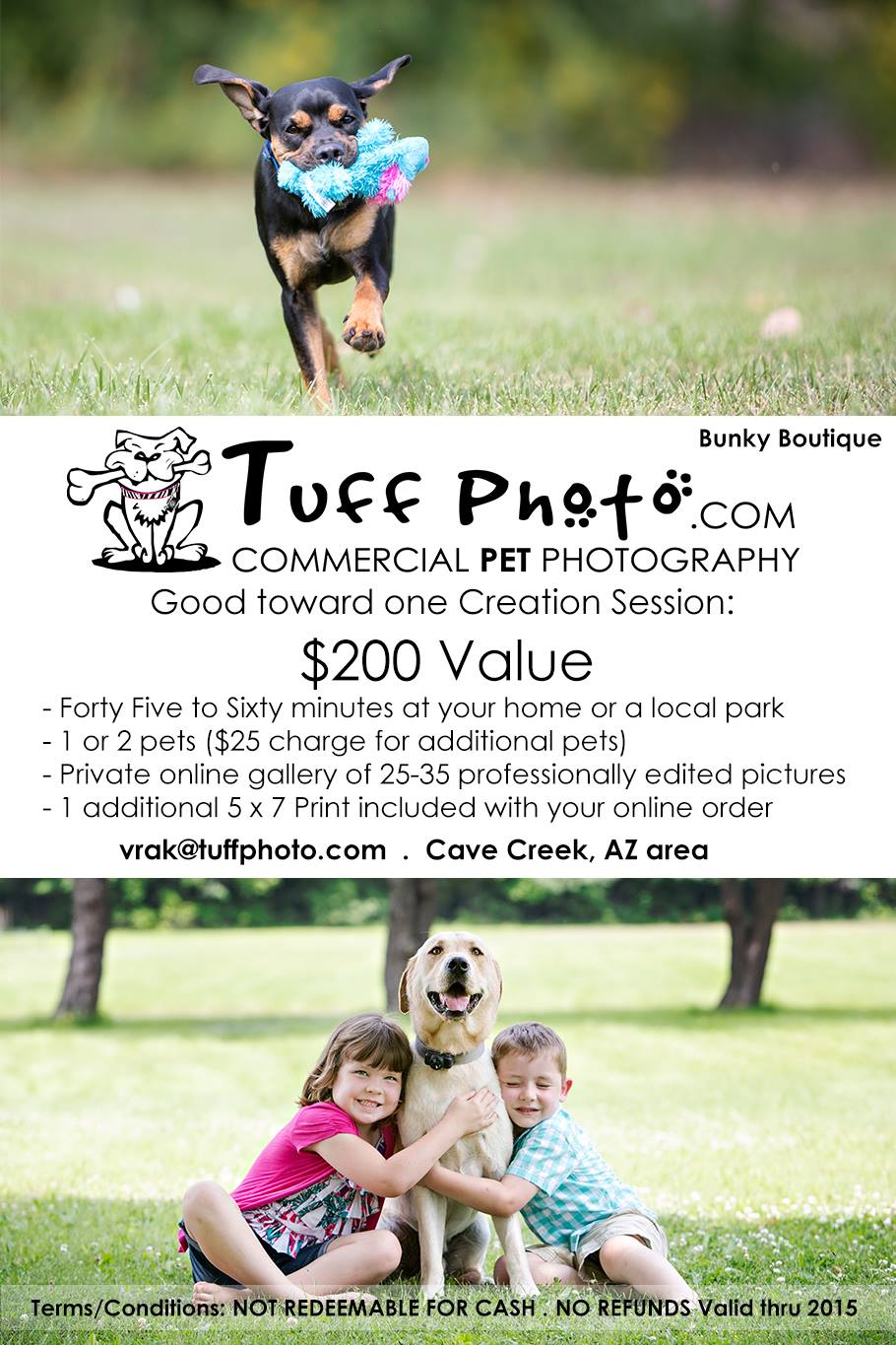 TUFF PHOTO is donating one pet photo session for the Dog Days of Summer Raffle!