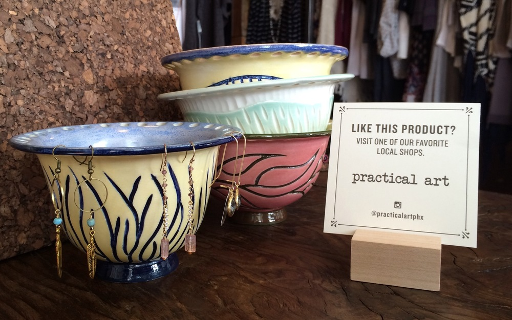Hand made, hand painted ceramic bowls available at Bunky Boutique. Provided by our friends at Practical Art.