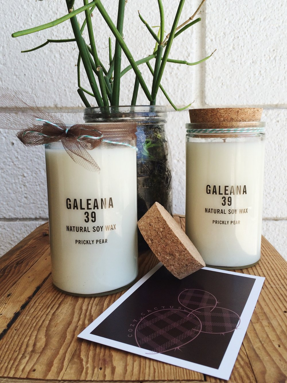 Hand poured Prickly Pear soy wax candles by local maker Galeana 39, part of the Cozy Cactus collection ($30).