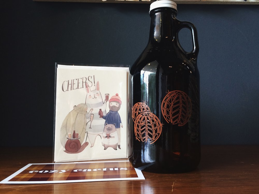 Find unique gifts like our amber Cozy Cactus Growlers, $10