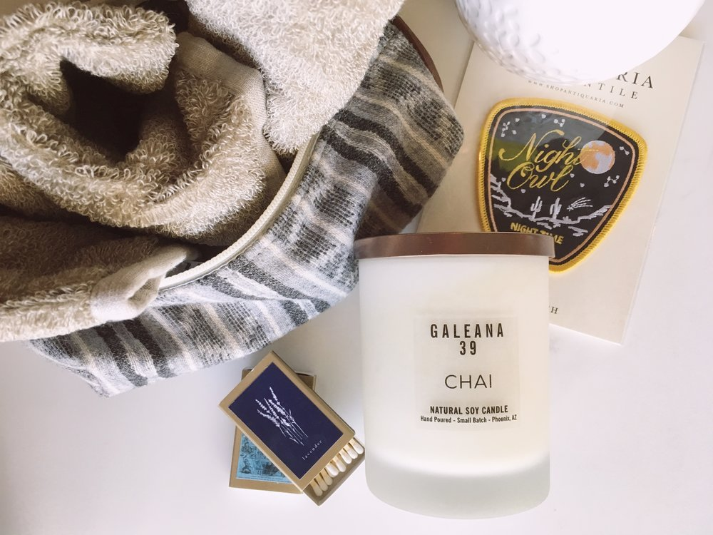 - Right: Linen Massage Mitten ($), Pendleton Dopp Bag ($42), Vintage Matchboxes ($3/each), CHAI soy wax candle ($34), 'Night Owl' Patch ($12)