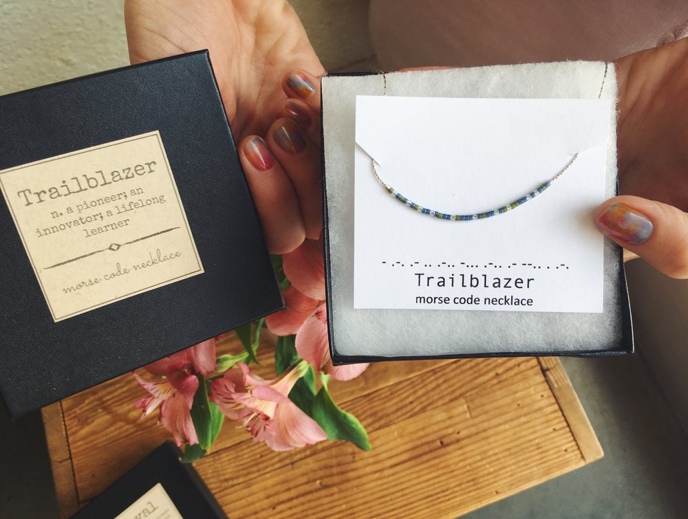 TRAILBLAZER Morse Code Necklace, exclusively available this weekend at Bunky!