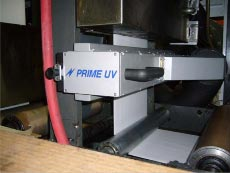 PRIME UV Curing System on an Aquaflex Press