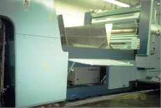 PRIME UV  Curing System installed in the extended delivery to cure high gloss UV coatings on a Planetta Sheetfed Press.