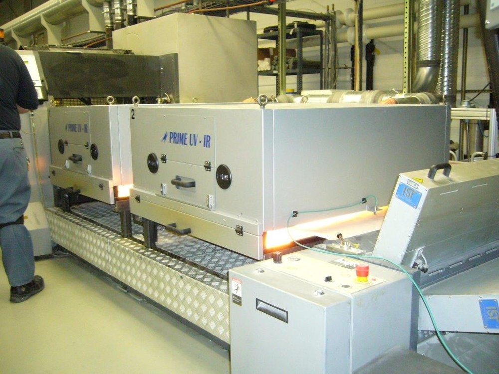 - PRIME IR Action Dryer System installed on a Sanden Web Press drying remoistened adhesives.