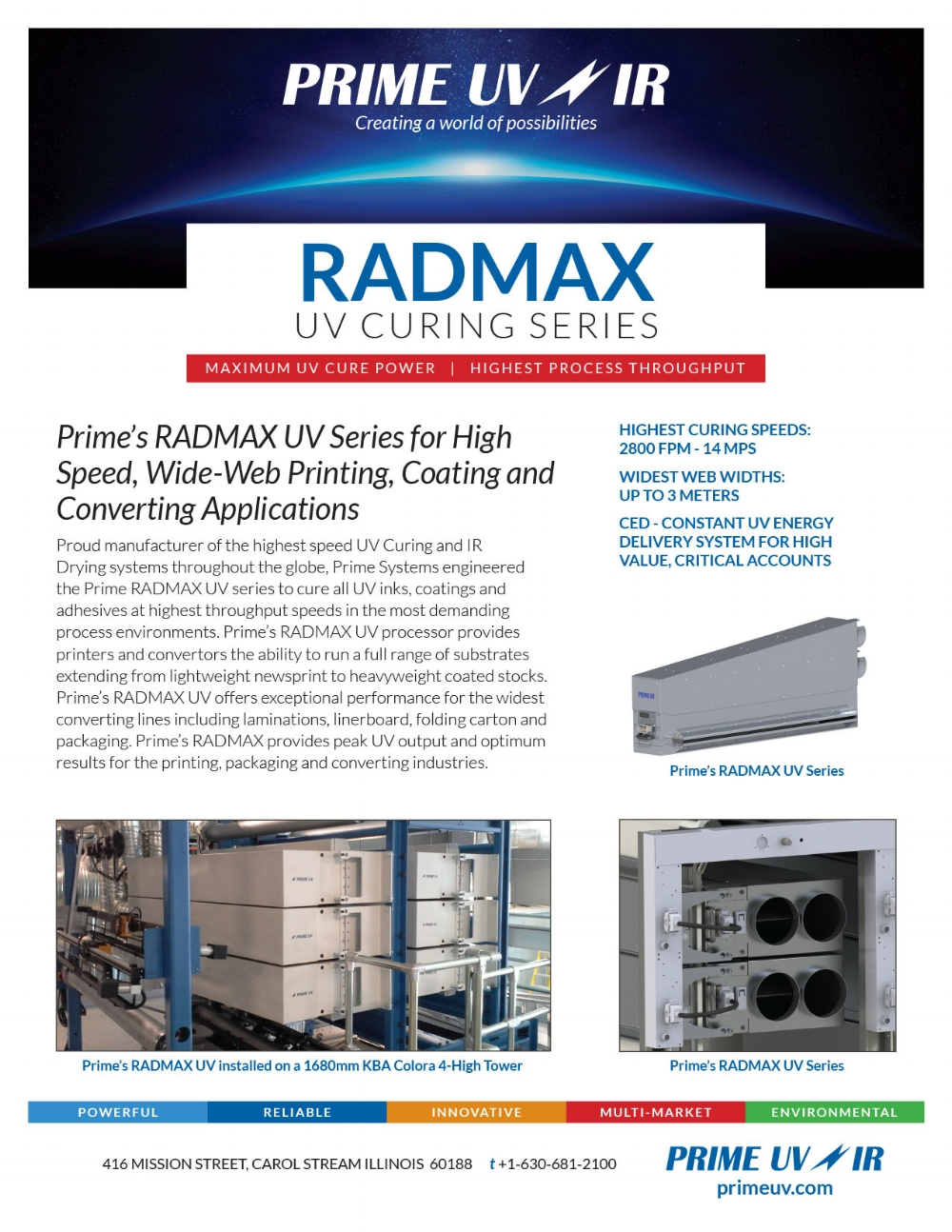 Rad Max UV Curing Series Information sheet