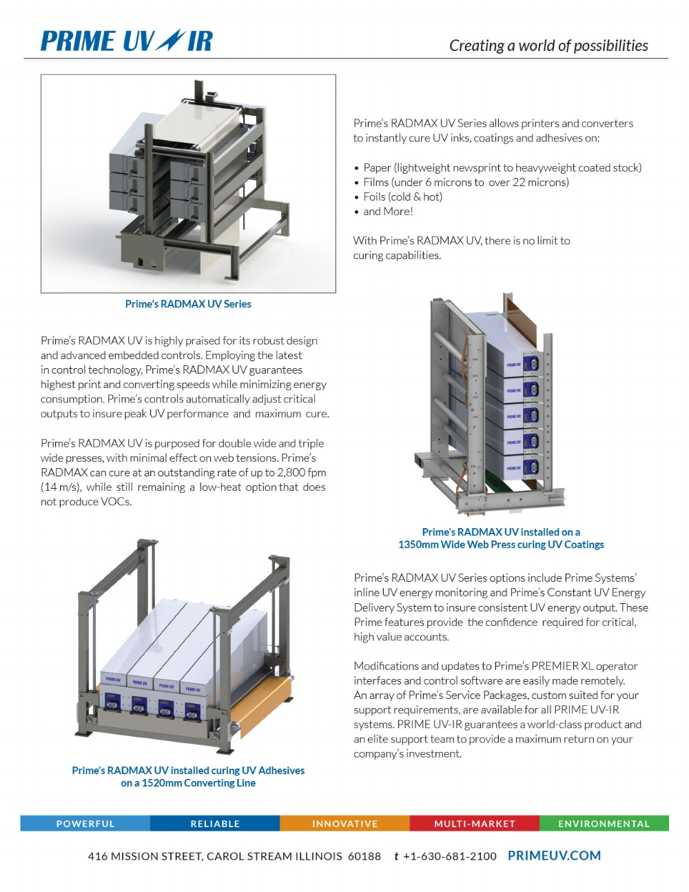 Rad Max UV Curing Series Spec sheet