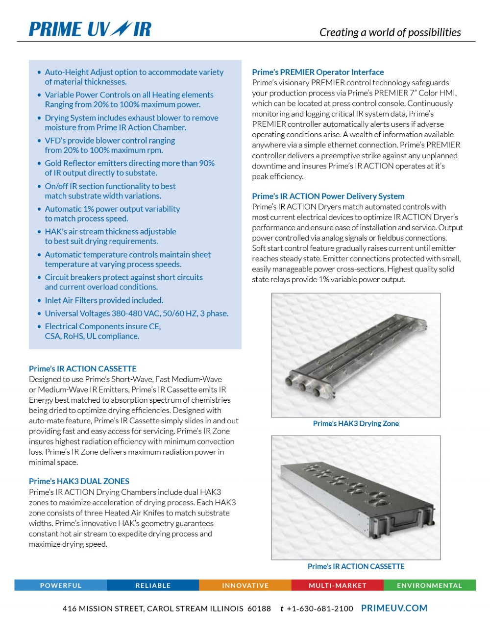 IR Action Drying System Spec sheet