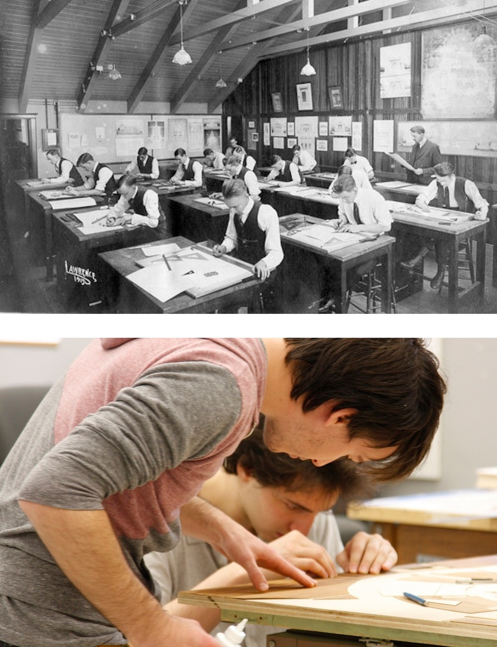 Although these photos were taken almost 100 years apart, both generations of  KU architecture students have one thing in common: They ' re working in Marvin Hall.