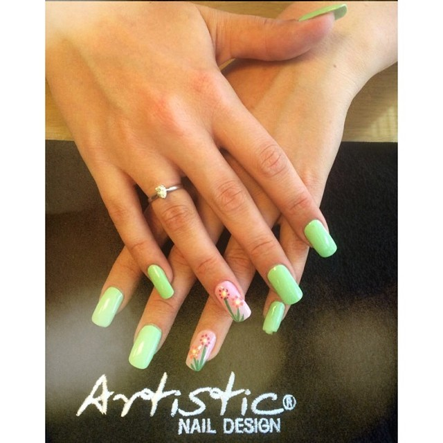 Pretty summer themed nails done today by Gary x