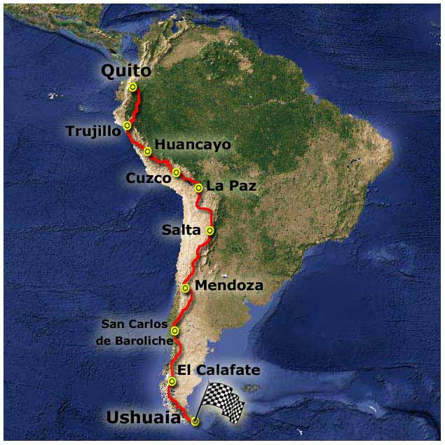 Map of James' 2014 Andes Trail Adventure