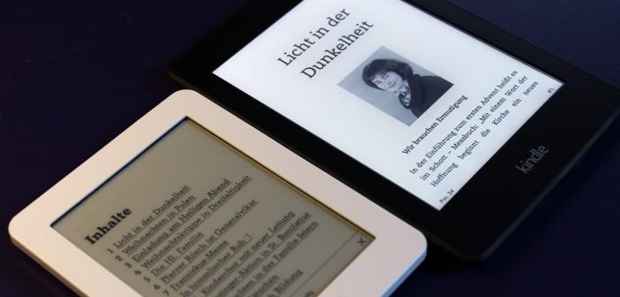 Gemeindebrief auf zwei verschiedenen Ebook-Lesegeräten