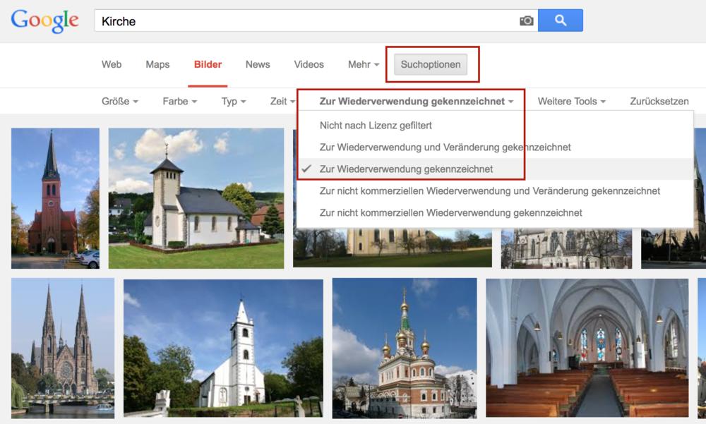Beispiel: Wie man bei Google nach zur Wiederverwendung gekennzeichneten Bildern sucht.