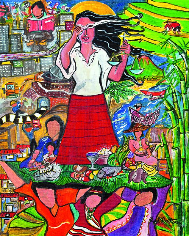"""Das Titelbild zum Weltgebetstag 2017 mit Bildtitel """"A Glimpse of the Philippine Situation"""" von der philippinischen Künstlerin Rowena Apol Laxamana Sta Rosa, © Weltgebetstag der Frauen – Deutsches Komitee e.V."""