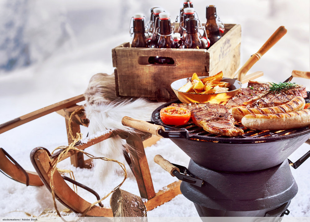 Winter barbecue outdoors in the snow