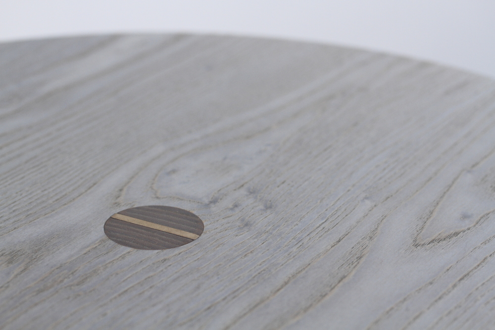 Tripod Table:  Oyster Stain with Bronze Wedge