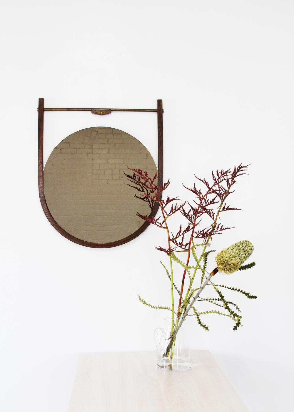 Moana Mirror:  Walnut with Bronze Mirror and Brushed Brass Hardware
