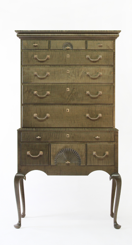 Salt Pond Stained Tiger Maple Highboy with Azimuth Stained Interior and Cast Bronze Fish Hardware, Locking Drawers and Hand-Carved Fans