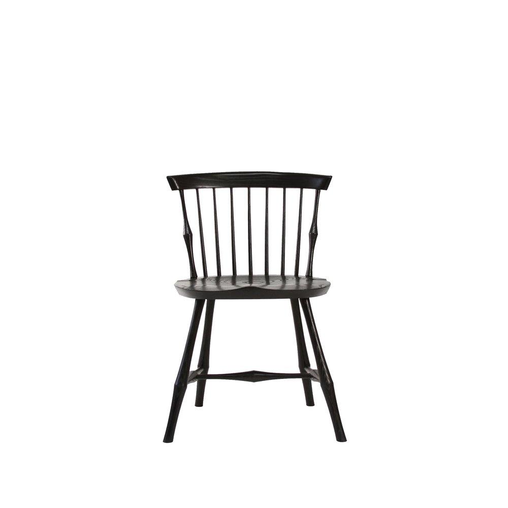 O&G Studio Wayland Low Back Side Chair Fanback Windsor Dining Chair Black Ebonized Stain on Maple
