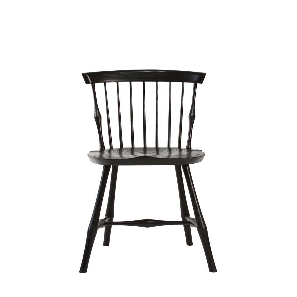Ebony Maple Stained Ebonized Windsor Wayland Highback Side Chair O&G