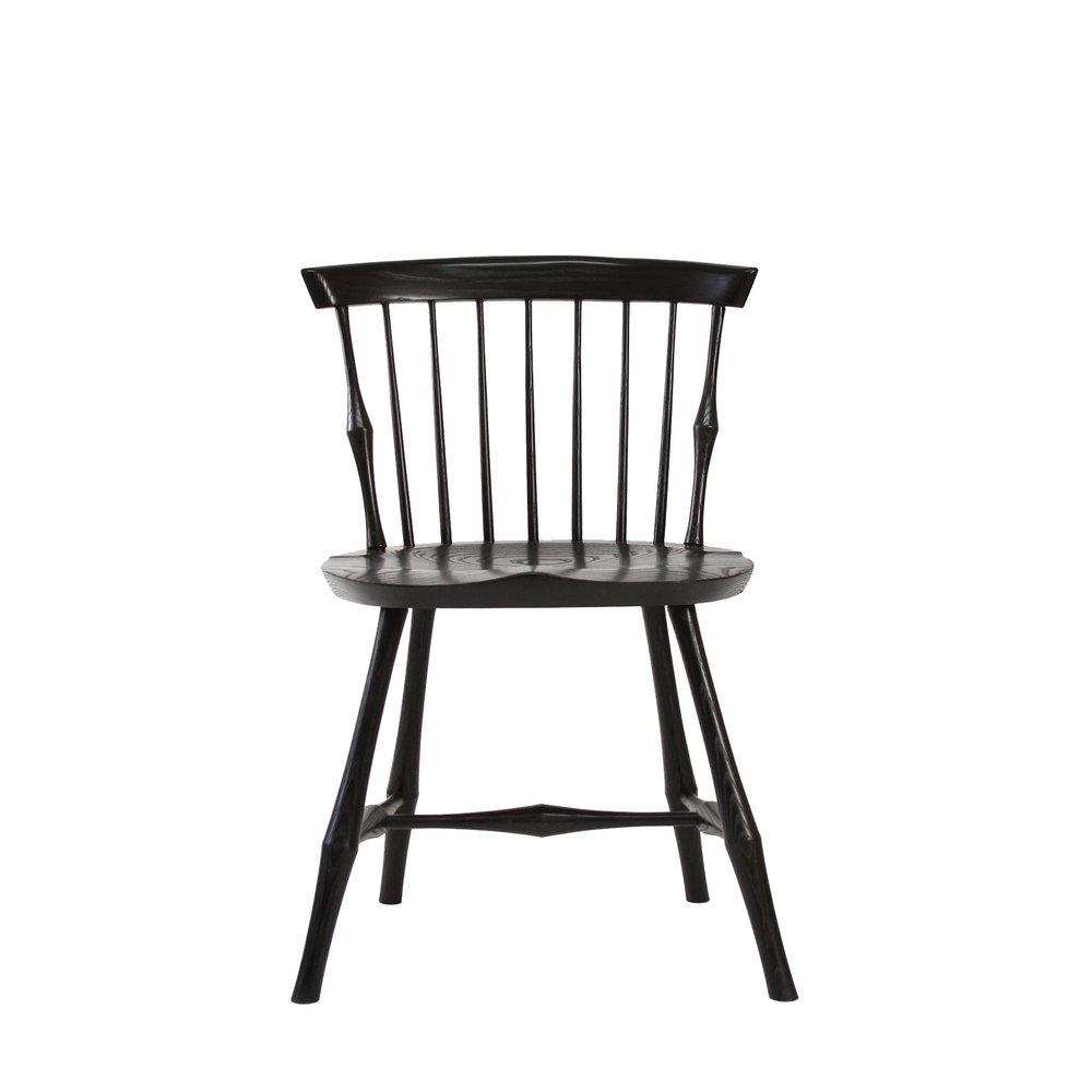 Ebony Maple Stained Ebonized Windsor Wayland Highback Side Chair O&G
