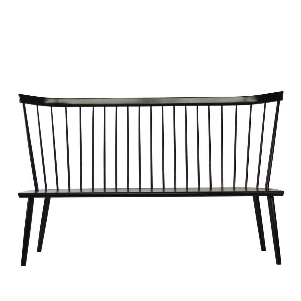 "72"" Windsor Colt High Back Settee Bench Ebony Stain Ebonized Maple Stain"