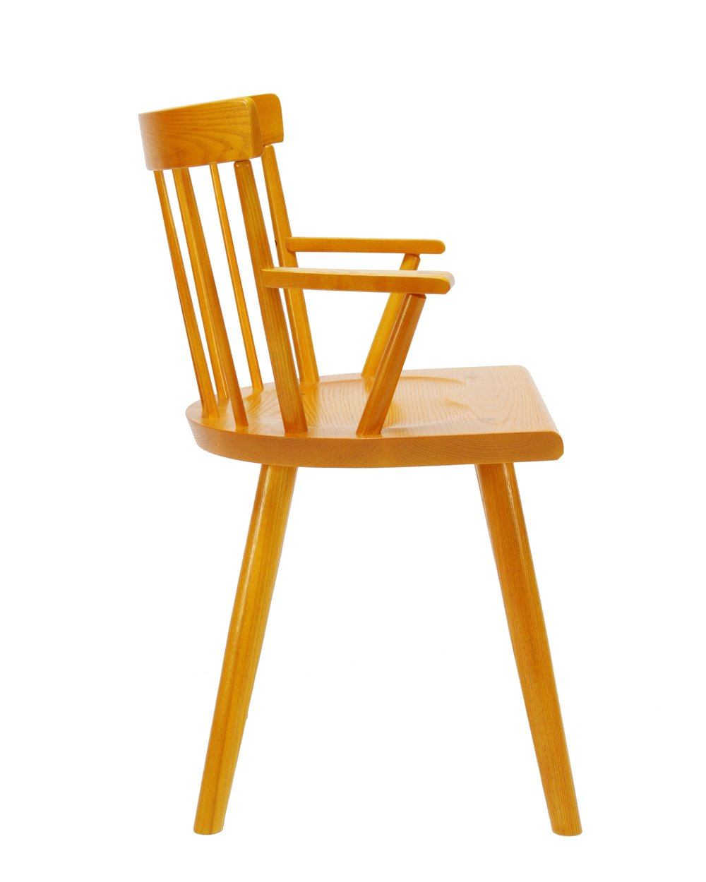 O&G Studio Colt Low Back Lowback Windsor Contemporary Dining Chair Armchair Large Turmeric Yellow Orange Ochre Sunshine Stain on Maple