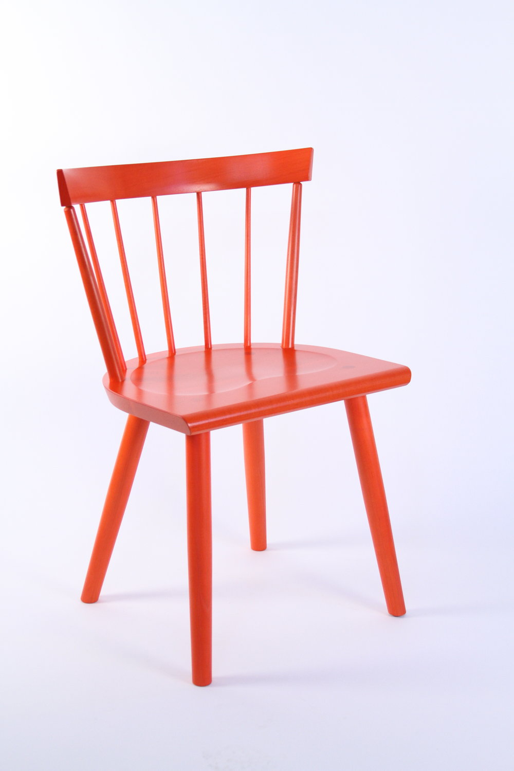 O&G Studio Colt Low Back Lowback Windsor Contemporary Dining Chair Side Chair Persimmon Red Orange Electric Design Stain on Ash