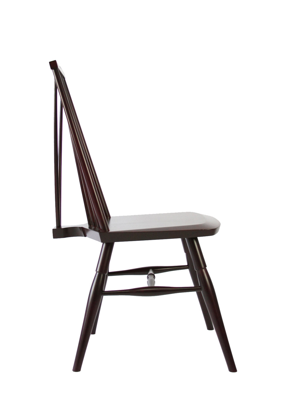 O&G Studio Highback Windsor Contemporary Side Dining Chair  Modern Andrew Mau Designed Design Interior Braced Seating Ebonized Maple Black Beet Stained Stain