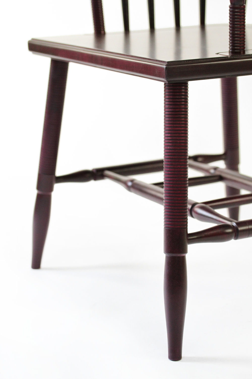 O&G Studio Horseshoe Chinese Armchair Windsor Contemporary Side Dining Chair  Modern Andrew Mau Designed Design Interior Braced Seating Ebonized Maple Magenta Beet Stained Stain