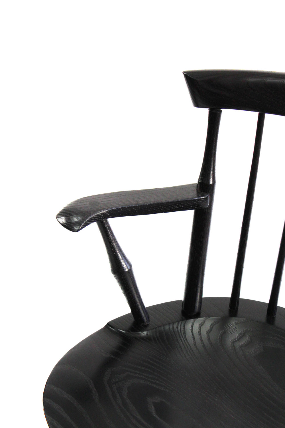 Ebony Maple Stained Ebonized Windsor Wayland Low Back Arm Chair O&G