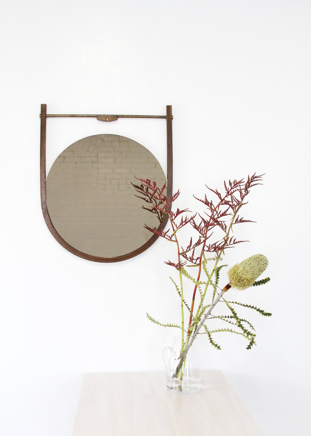 O&G Studio Moana Mirror Solid Walnut Bronze Glass Brass Hardware Protea Banksia