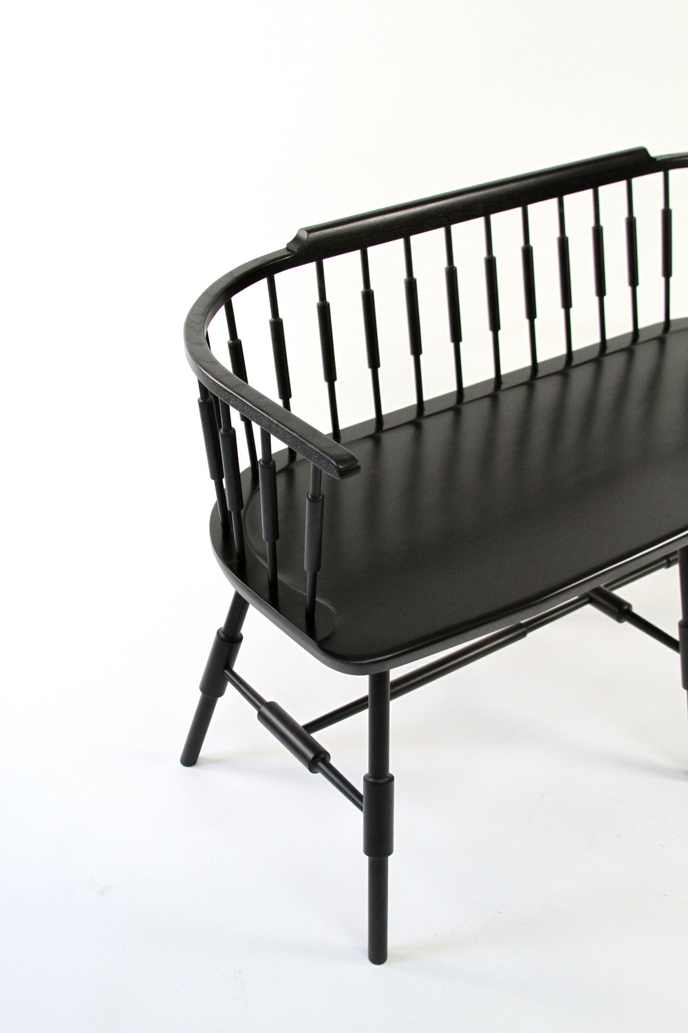"52"" Loveseat Atlantic Low Back Settee Bench Ebony Black Stain Ash"