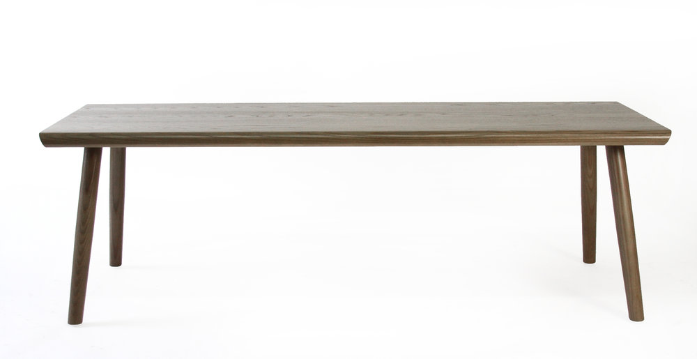 O&G Studio Buck Bench X Base Trestle Dining Bench 54 Loveseat Entry Bench Windsor Contemporary Side Americana Seating Modern Designed Design Interior Seating Ebonized Maple Oyster Stain Light Grey Gray Stained