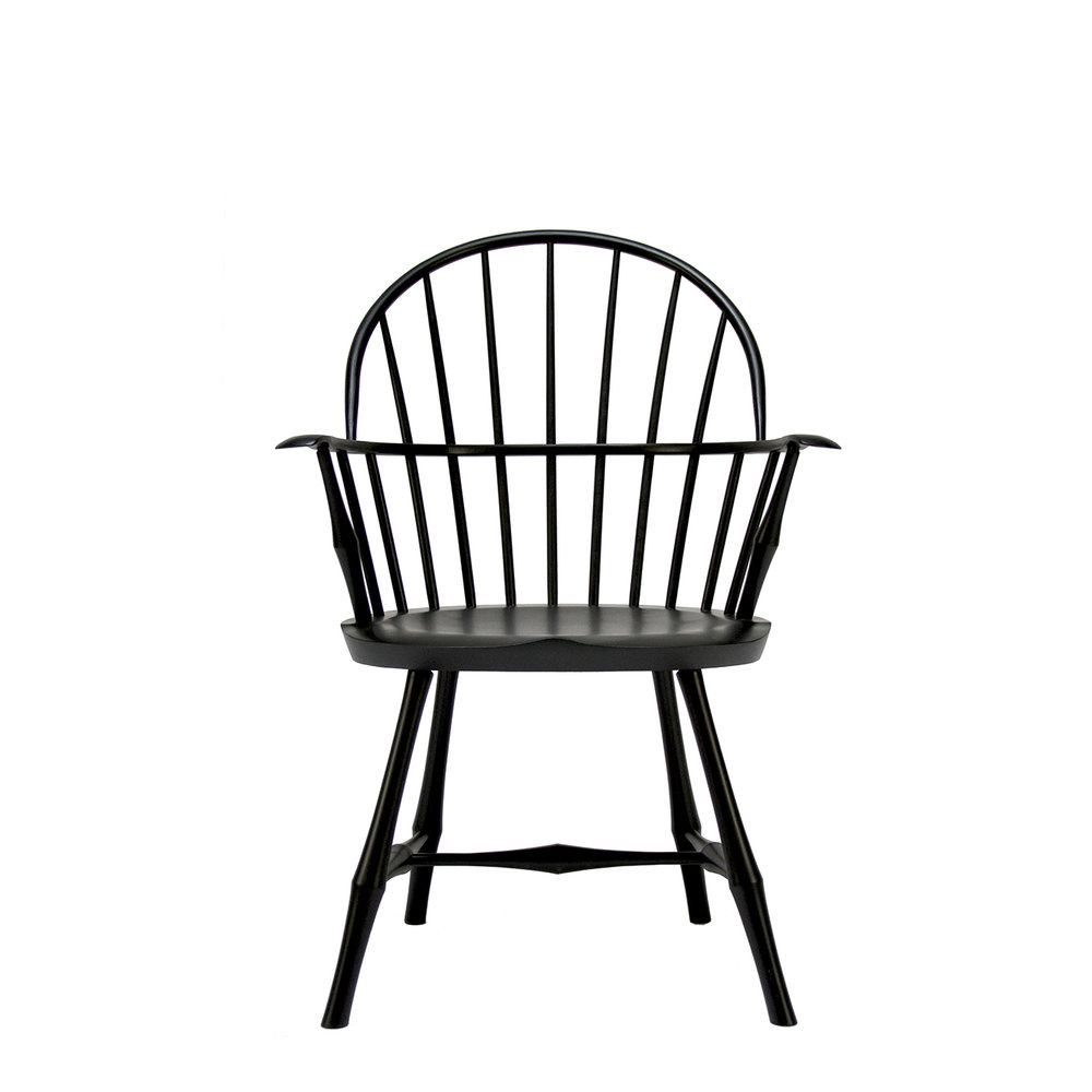 O&G Studio Wayland Elbow Dining Windsor Chair Ebonized Stain Ash