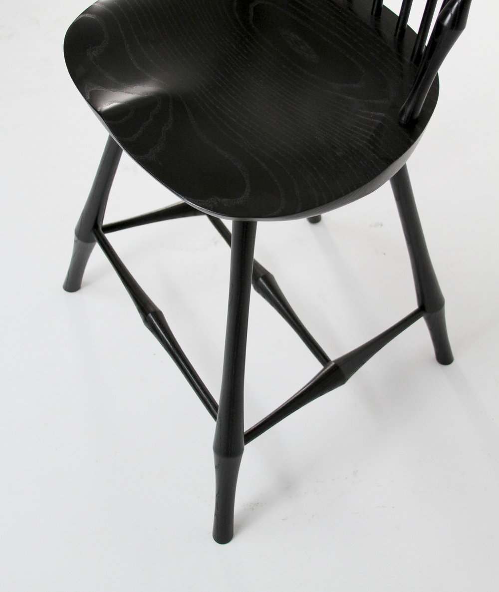 O&G Studio Wayland Fan Back Bar Counter Stool Windsor Contemporary Dining Chair Side Chair Black Ebonized Stain on Ash