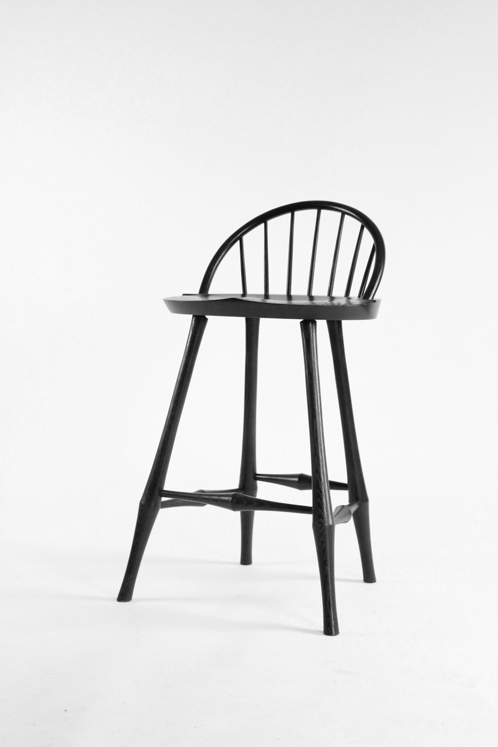 O&G Studio Wayland Half-Bow Back Bar Counter Stool Windsor Contemporary Dining Chair Side Chair Stain on Ash