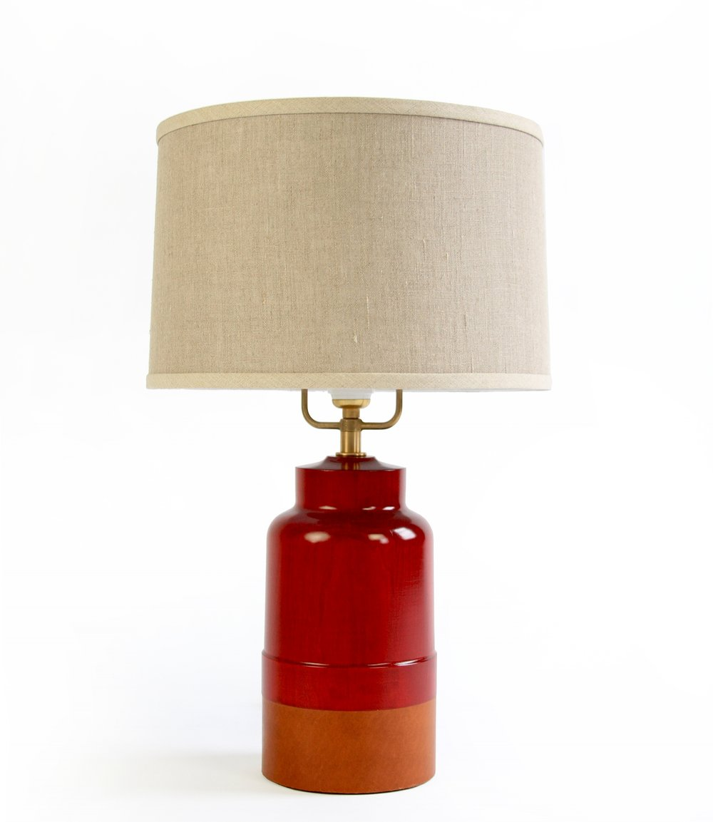 PAIR of TIVERTON LAMPS - $720 each (20% off)  -  Oxblood Stain - Photography Sample Pair of Tiverton Lamps sold individually or as a pair.  Cognac leather, Linen Shade, Brass Hardware.  Gorgeous Candy Apple Red finish.
