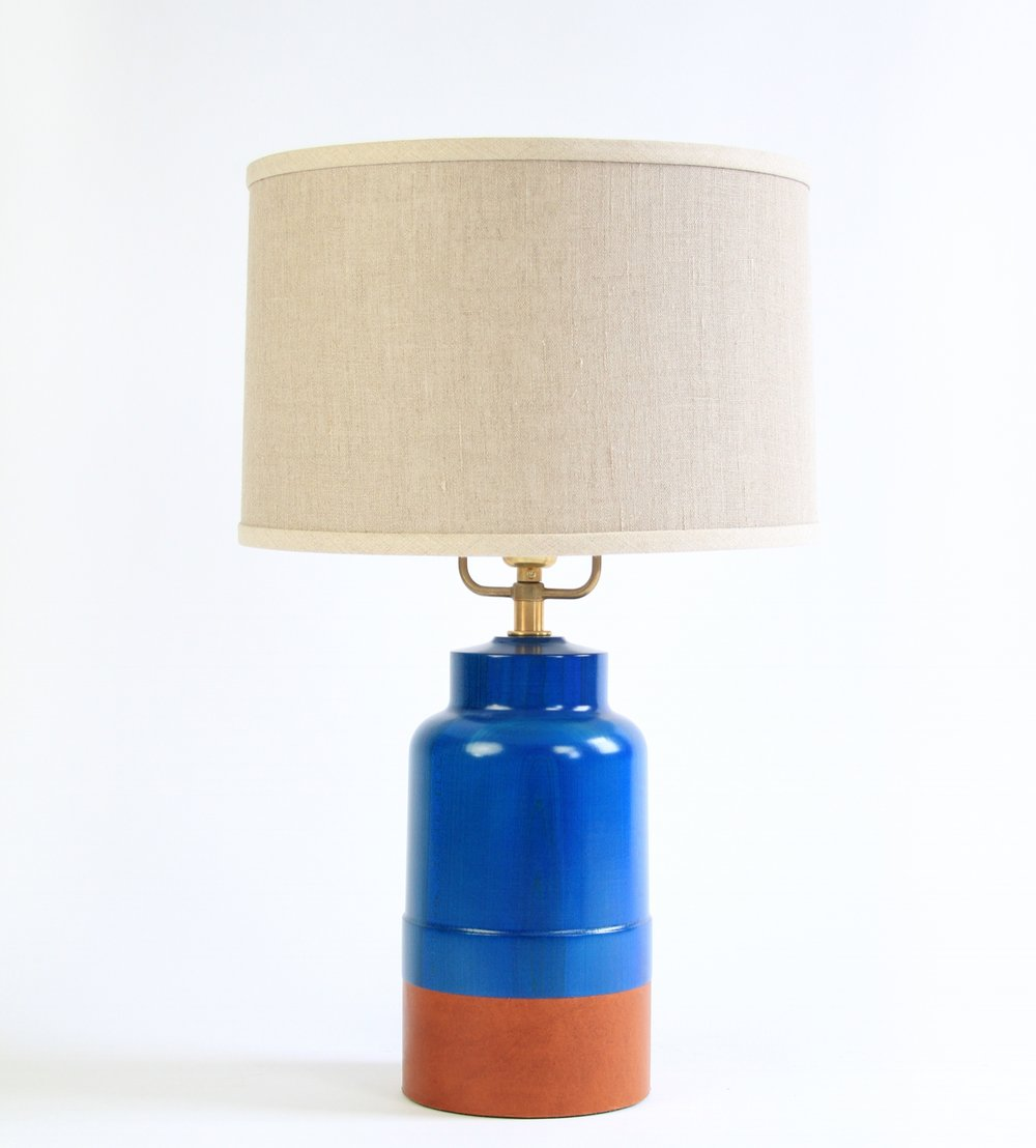 PAIR of TIVERTON LAMPS - $720 each (20% off)  -  Delft Blue Stain - Photography Sample Pair of Tiverton Lamps sold individually or as a pair.  Cognac leather, Linen Shade, Brass Hardware.  Our Newest Bright Blue Stain!  Sexy!