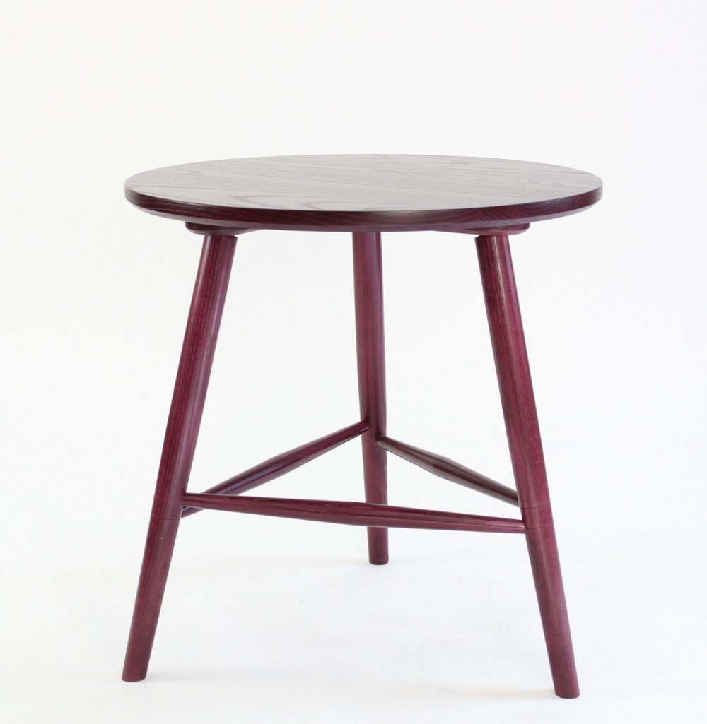 "COLT SIDE TABLE - $735 each (30% off)  -  Beet Stain - Photography Sample.  26""Ø x 26""H.  Perfect Side Table for a Sofa."