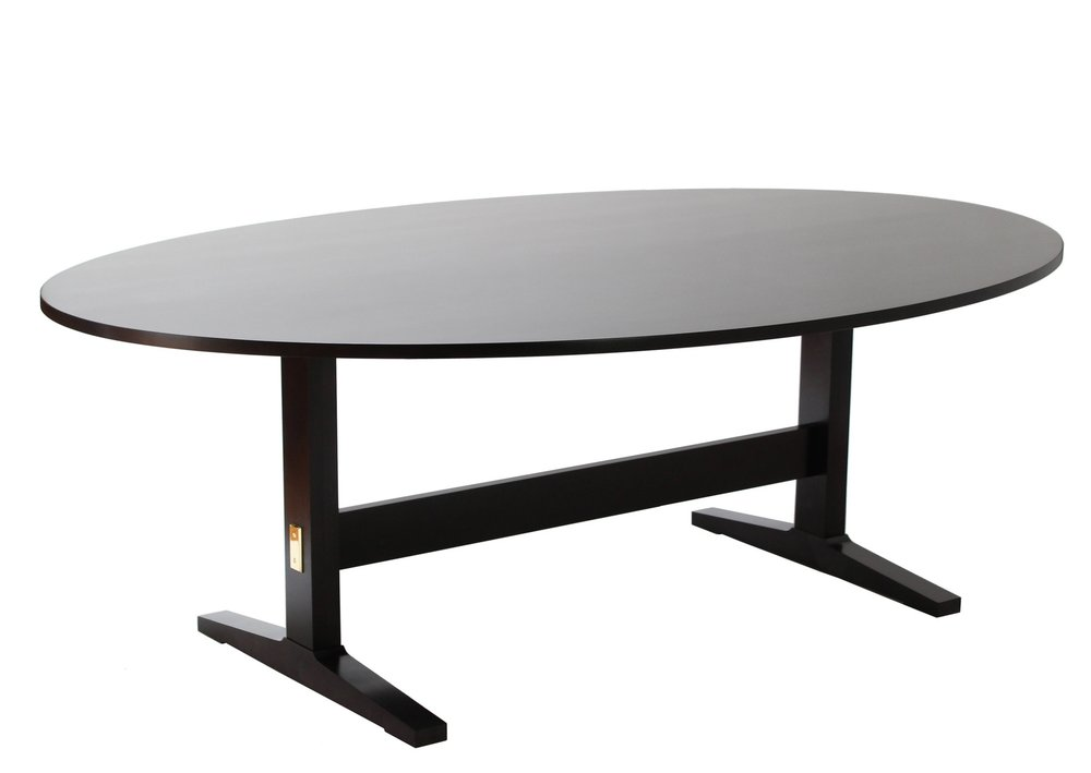 "ACRE TRESTLE DINING TABLE (OVAL) - $4350 (25% off)  -  Ebony Stain - Photography Sample and Showroom Model.  Light showroom wear and tear.  Brass Plate Covers!  A deal on a fine table less than 1 year old!  60"" x 90"" Oval."