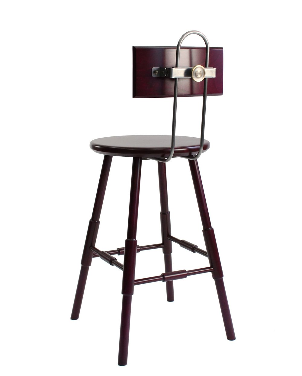 "ATLANTIC STOOL with BACK - 24"" (counter height) - $552 (40% off)  -  Beet Stain - Showroom Model.  2 years of light wear and tear.  Steel hair-pin bend is a living finish with natural rusting.  Beet Stain still glowy on this piece.  This stool has photographed so well and has represented the design beautifully!  Bittersweet to see her go."