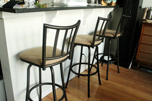 I decided that instead of buying new stools, I'd do that DIY-way and recover  these bar stools and give them a new coat of paint until I find something  ... - Before And After: Reupholstering Bar Stools — Unusually Lovely