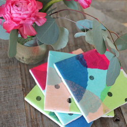 Tissue Paper tile coasters