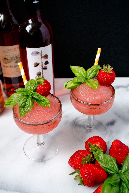 Strawberry Basil Frosé via Unusually Lovely