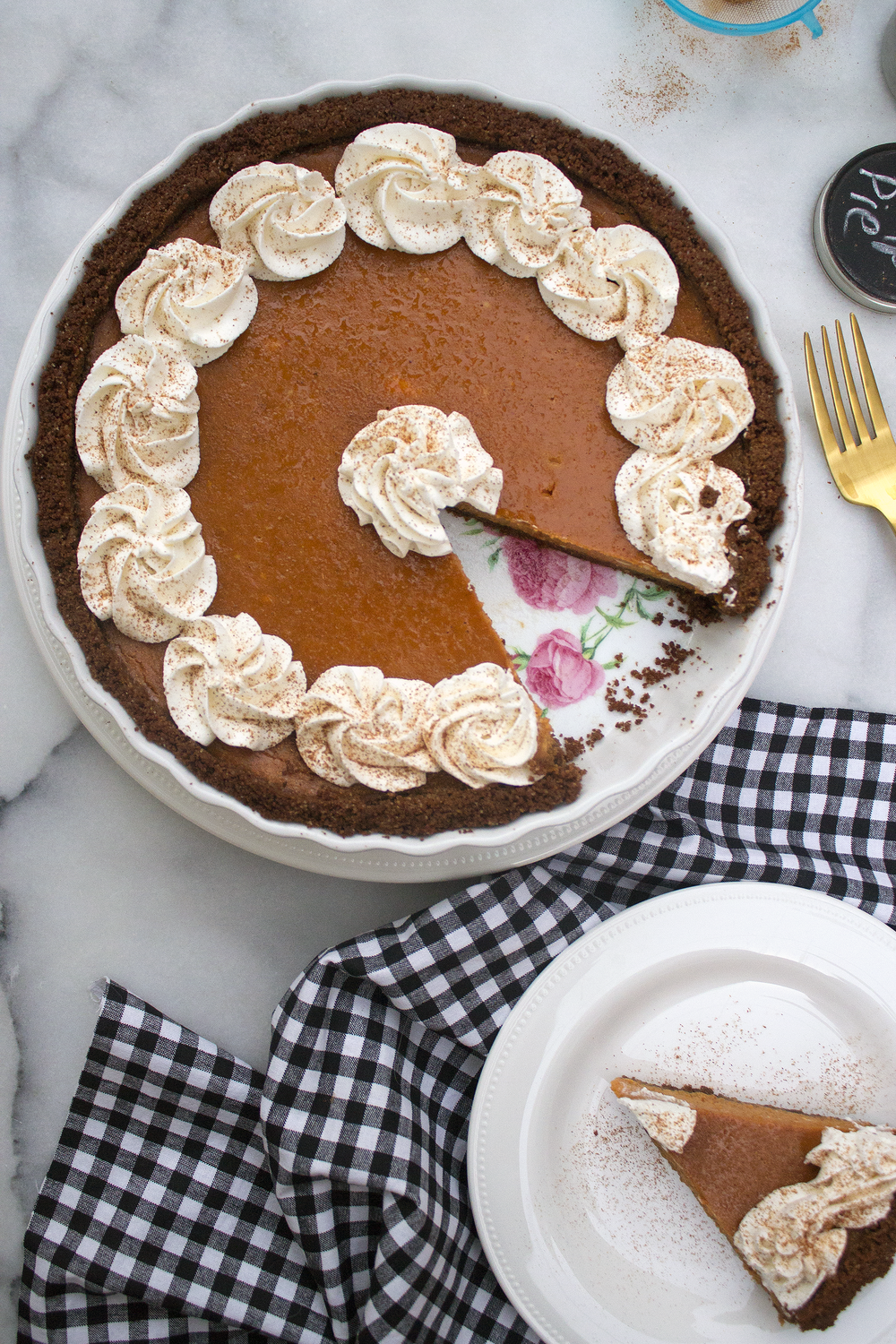 Pumpkin Tart with Gingersnap Crust via Unusually Lovely