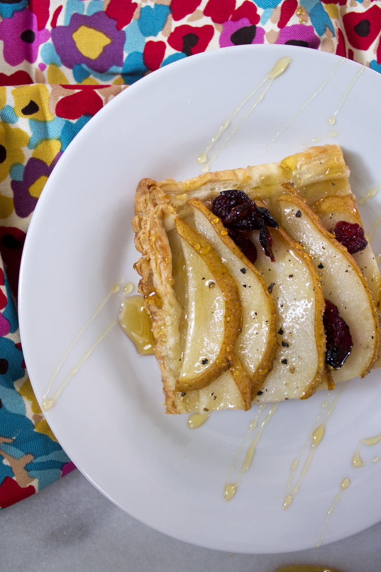 Pear and Brie Tart with Cranberries via Unusually Lovely