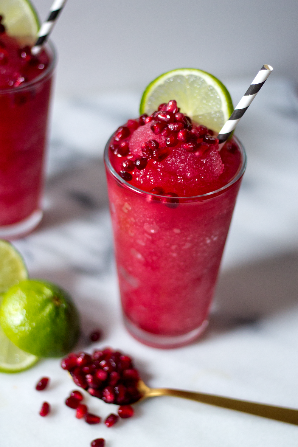 Pomegranate Gin Slush via Unusually Lovely