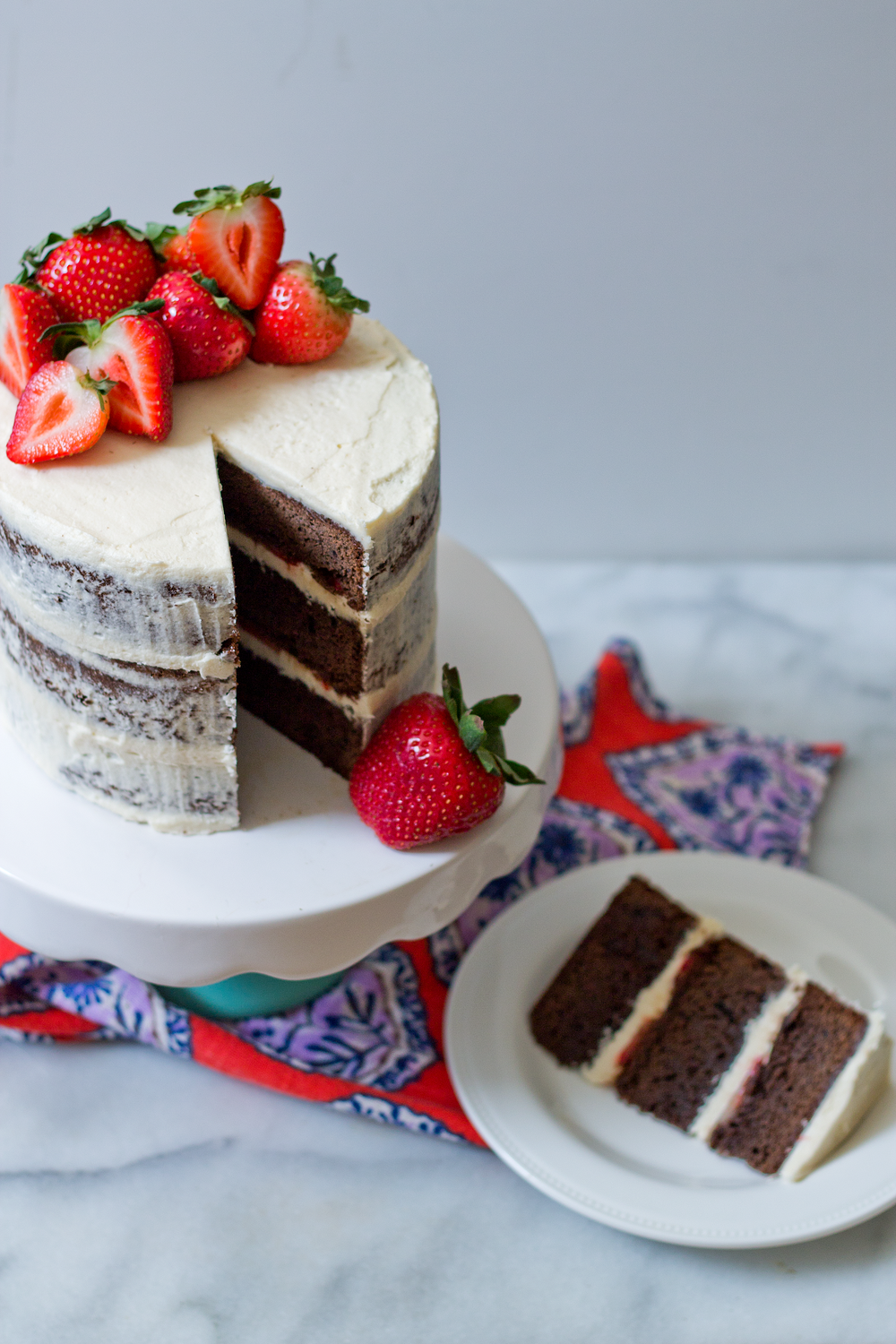 Layer cake made with brownies and strawberries from the Unusually Lovely blog
