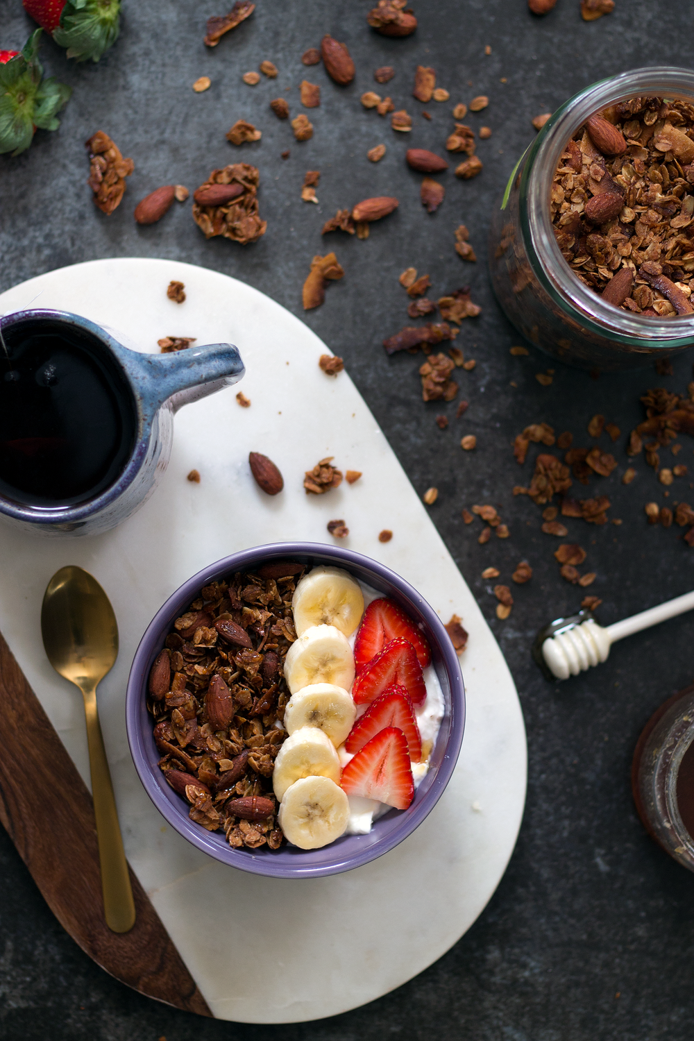 Cinnamon Almond and Coconut Granola via Unusually Lovely
